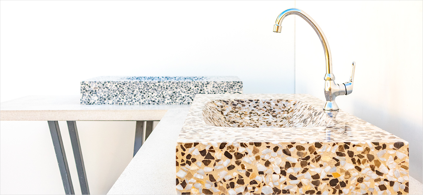Set of bathroom sinks, Terrazzo Marble 10