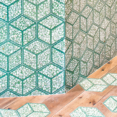 Green Terrazzo and Granit tiles in restaurant in London