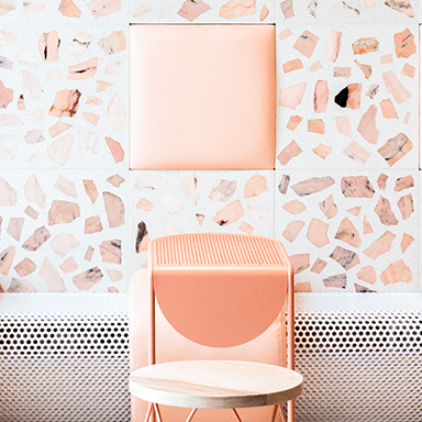 Pink Terrazzo Tiles on Walls and Restaurant Floor