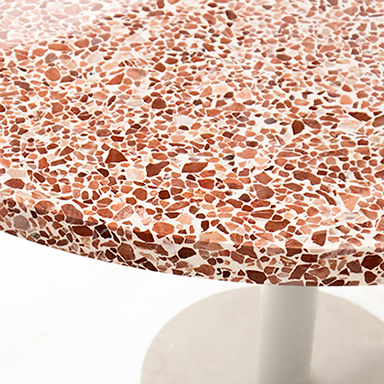 Red Round Terrazzo Table