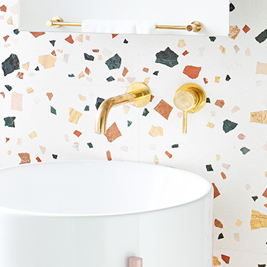 Terrazzo Tiles on bathroom wall