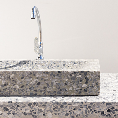 Terrazzo kitchen sink and table top