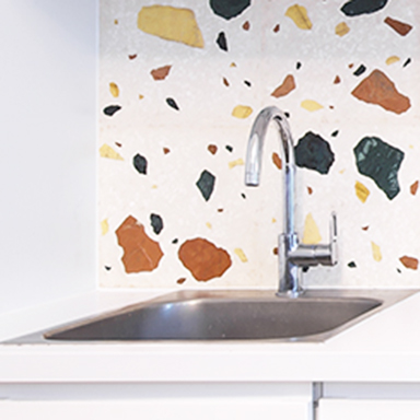 Terrazzo Tiles on kitchen backsplash