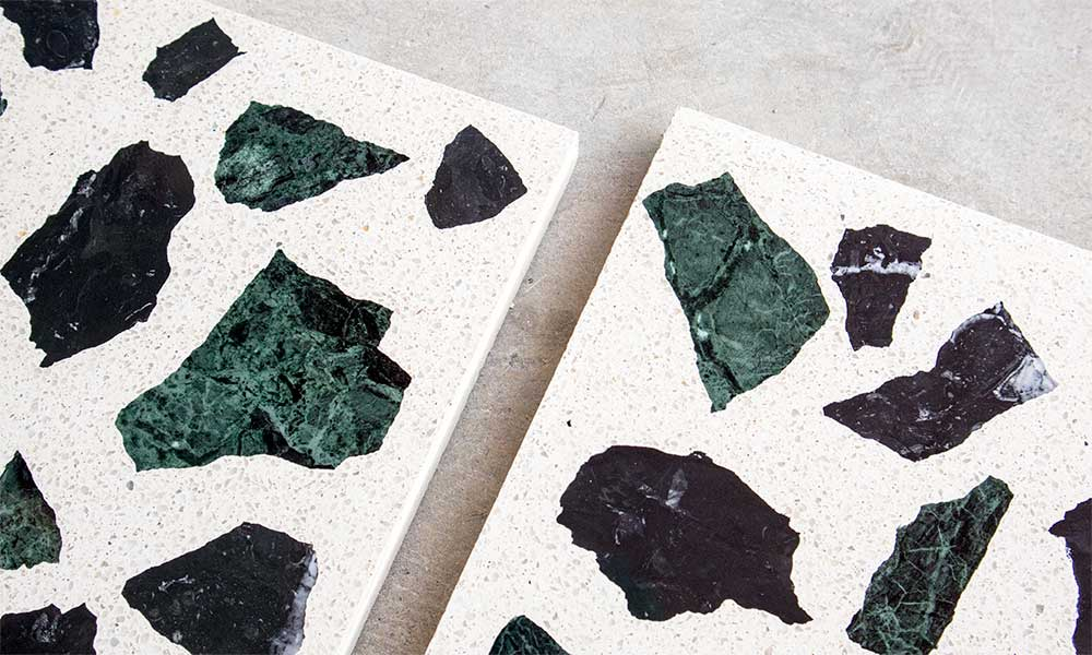 Green recycled marble and G55 granito background