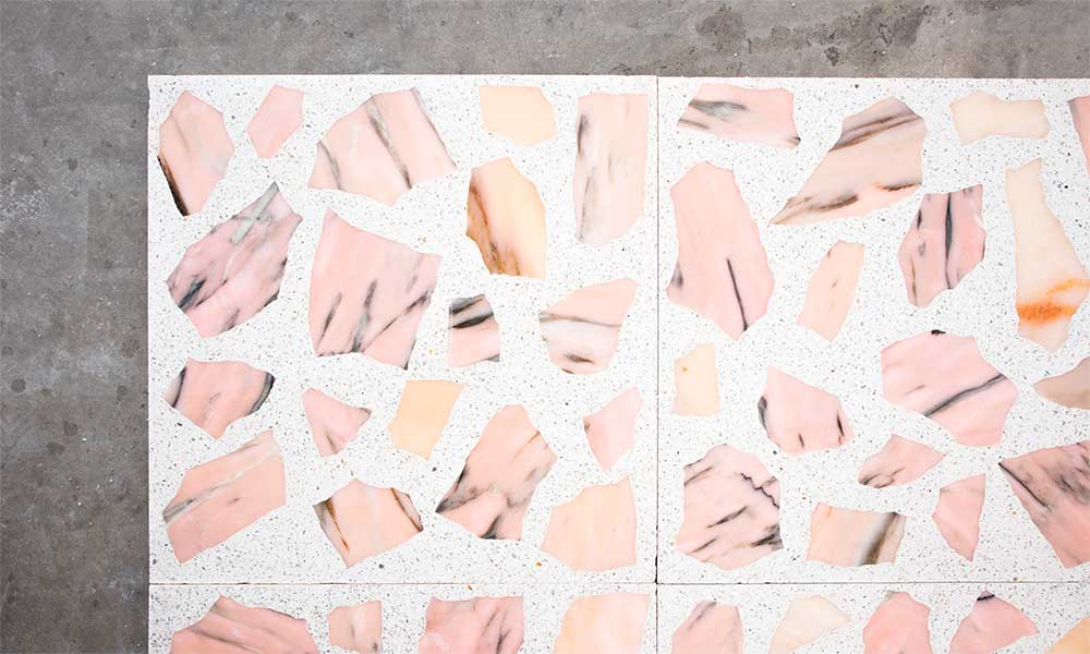Pink recycled marble and G55 granito background