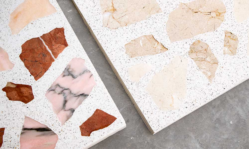 Red+Pink and Cream recycled marble with G55 granito background