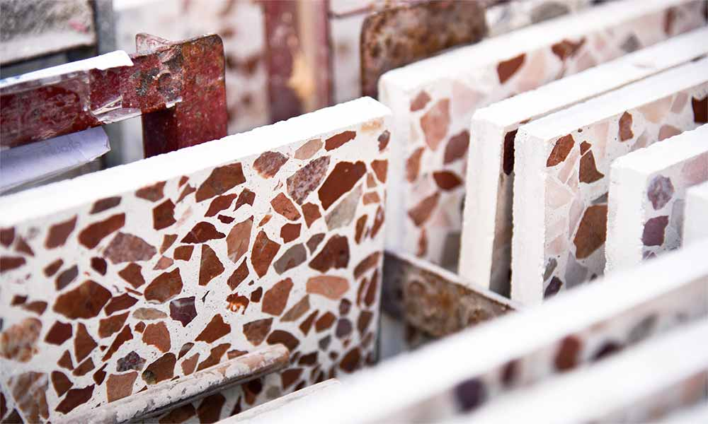 Red Marble 10 terrazzo tiles at our Tangier factory