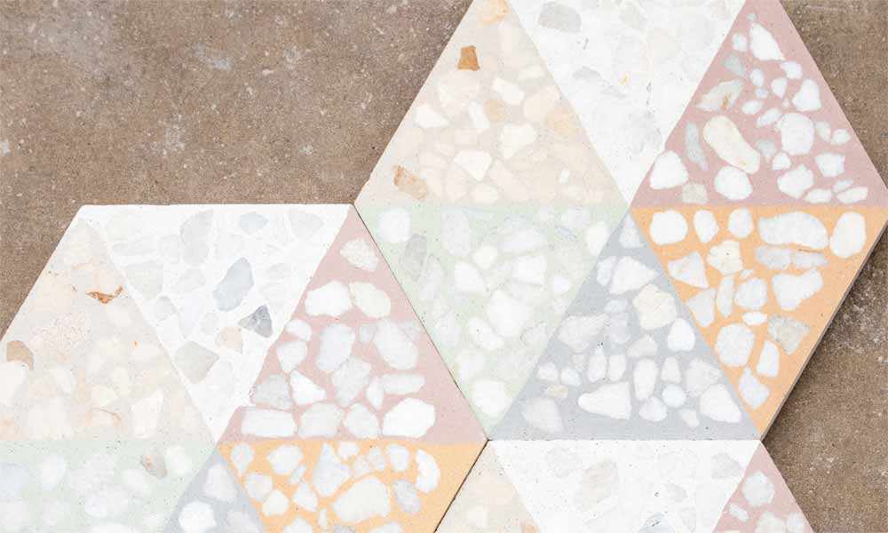 Customised hexagonal Terrazzo Pattern ref. H114 20x23cm