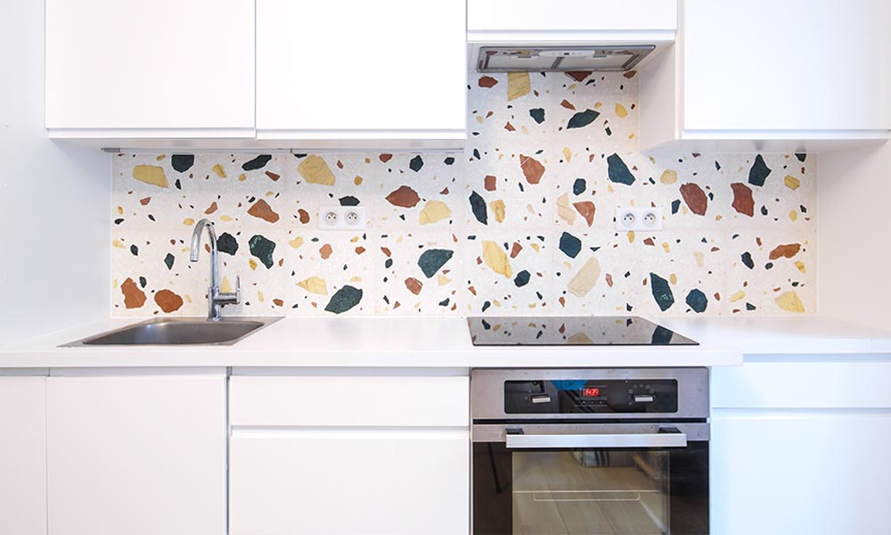 "Wild large ""W2"" Terrazzo backsplash in Paris"
