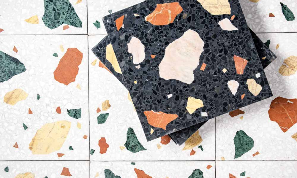 Terrazzo Wild, ref. W1 + W2, black or white background with coloured marble chips
