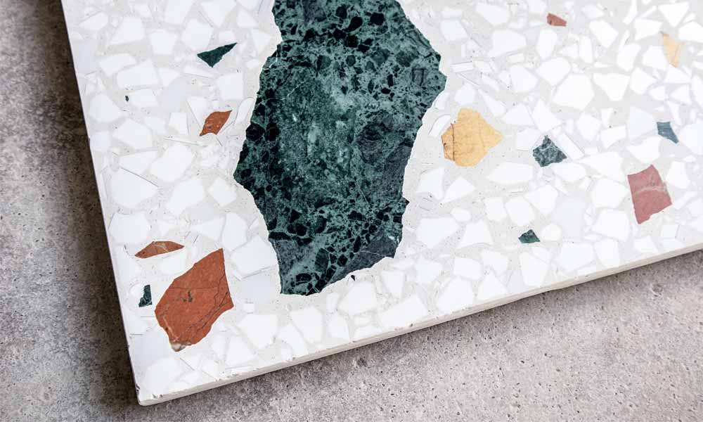 "Terrazzo ""Wild Large"" ref W2, coloured marble pieces on a white background"
